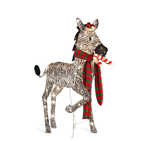 baby zebra with candy cane lighted christmas decor - Christmas Zebra Decorations