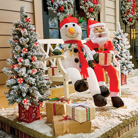 Stuffable santa claus snowman outdoor porch decoration for Outdoor christmas decorations for sale