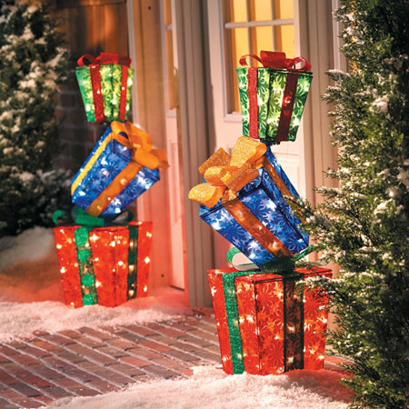 Lighted Stacked Gift Boxes Christmas Decoration  Improvements Catalog