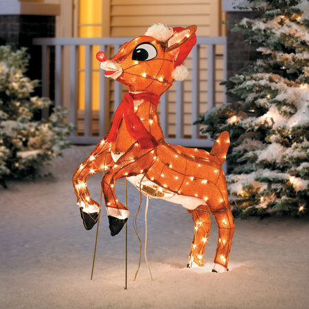 animated rudolph the red nosed reindeer lighted christmas decoration - Animated Lighted Reindeer Christmas Decoration