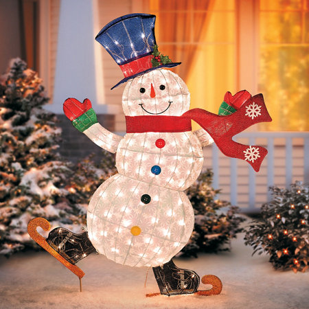 Lighted skating snowman outdoor christmas decoration for Abominable snowman outdoor christmas decoration