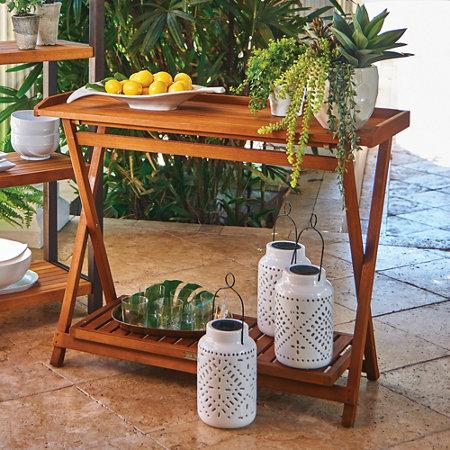 Eucalyptus Outdoor Folding Serving Table | Improvements Catalog