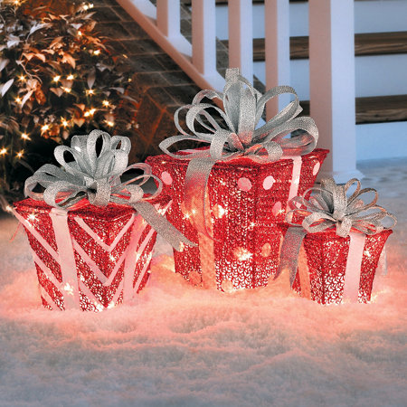 lighted glittering gift boxes outdoor christmas decoration set of 3 - Outdoor Christmas Decorations Gift Boxes
