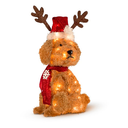 White Fluffy Dog Christmas Decoration-22