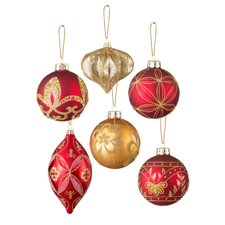 18 piece burgundy and gold christmas ornament set