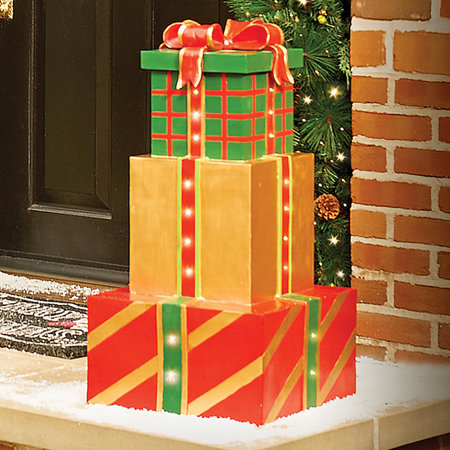 Stacked Musical Gift Boxes Outdoor Christmas Decoration
