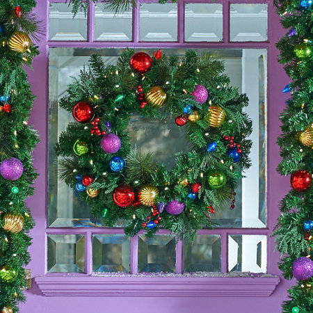 colors of christmas lighted wreath