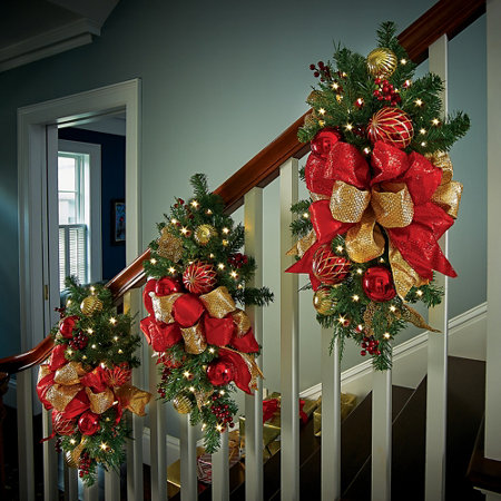 - Madison Lighted Staircase Christmas Swag-Red And Gold Improvements