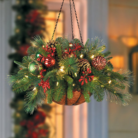 pre lit merry bright christmas hanging basket - Christmas Hanging Baskets