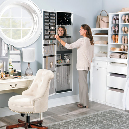 Cynthia Deluxe Over The Door Jewelry Cabinet With Full Length Mirror