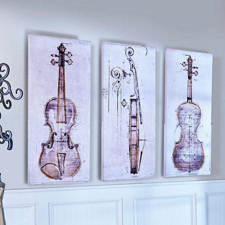 Violin Study Triptych Canvas Wall Art | Improvements