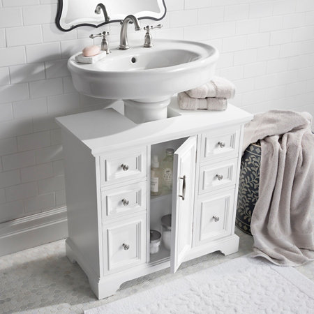 Pedestal Sink Cabinet With Wood Top