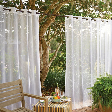 Grommet Top Mesh Outdoor Curtain Panel With Insect Repellent 96