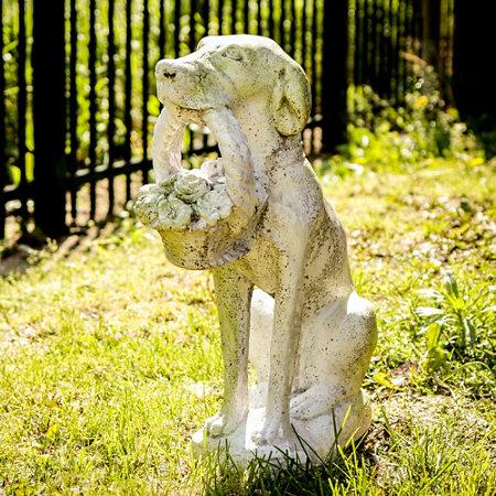 Dog With Flower Basket Garden Statue