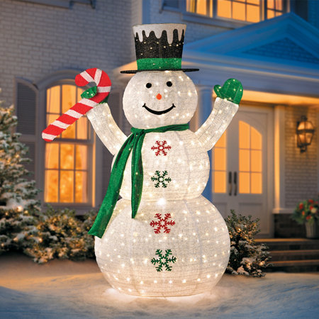 6 39 collapsible snowman led outdoor christmas decoration for Led outdoor decorations