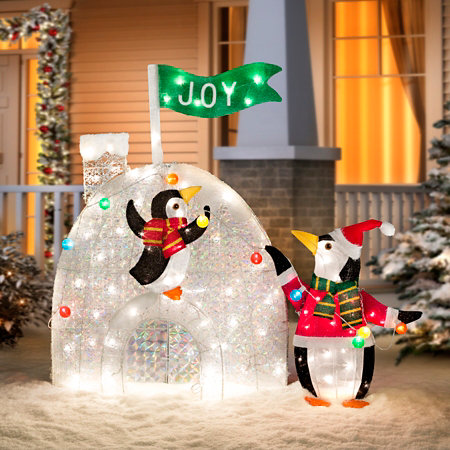 penguins decorating igloo outdoor christmas decoration