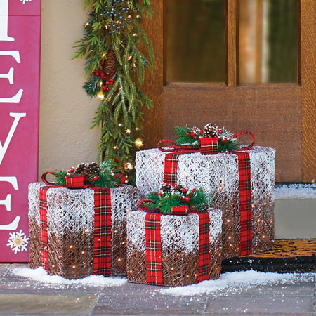 Frosted Lighted Presents Outdoor Christmas Decorations-Set of 3 - Frosted Lighted Presents Outdoor Christmas Decorations-Set Of 3