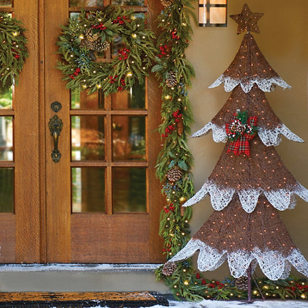 frosted tree lighted outdoor christmas decoration - Lighted Outdoor Christmas Tree