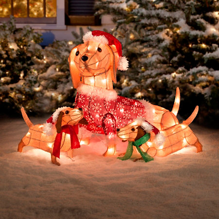 lighted dachshund dog family outdoor christmas decoration