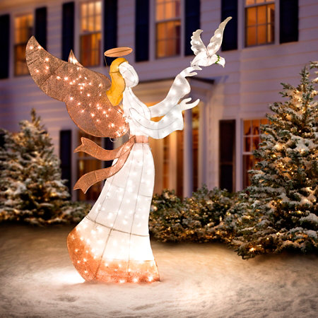 Ombre Mesh Angel with Dove Lighted Outdoor Christmas Decoration ...