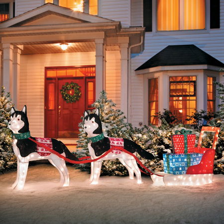 huskies with sleigh lighted outdoor christmas decoration - Outdoor Christmas Sleigh Decorations