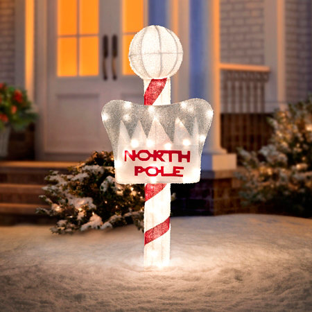lighted north pole sign outdoor christmas decoration - North Pole Christmas Decorations