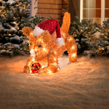 3d fluffy cat lighted outdoor christmas decoration