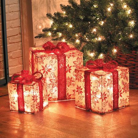 Glitter Poinsettia Burlap Presents Outdoor Christmas Decoration-Set of 3
