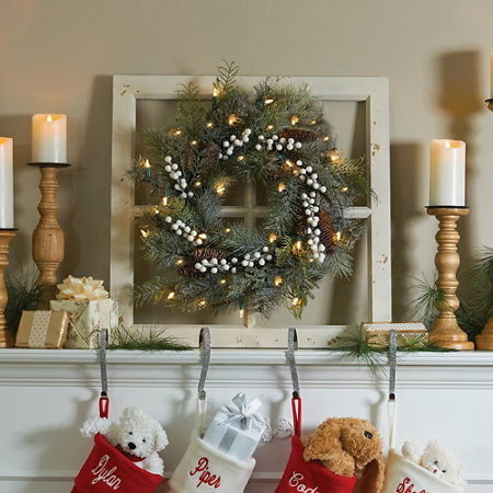20 frosted christmas wreath on distressed window frame - Distressed Window Frame
