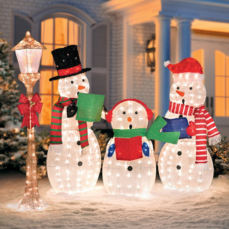 caroling snowmen family lighted outdoor christmas decorations - Unique Outdoor Christmas Decorations