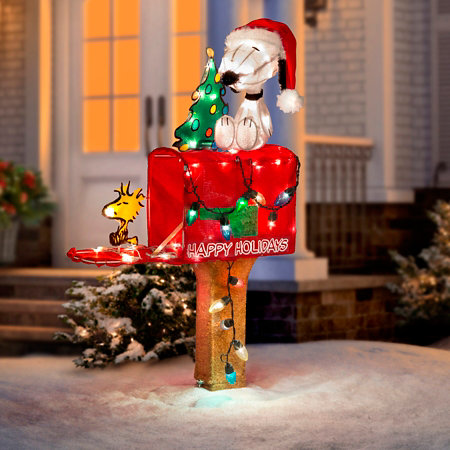 snoopy and woodstock on mailbox lighted outdoor christmas decoration - Snoopy Outdoor Christmas Decorations