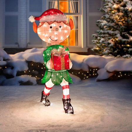 animated elf with present lighted outdoor christmas decoration - Outdoor Tinsel Christmas Decorations
