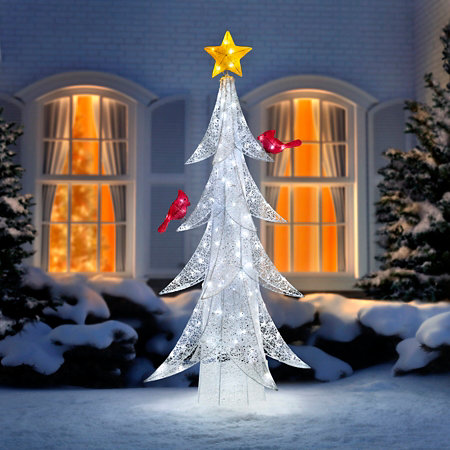 5 12 led twinkling tree with cardinals outdoor christmas decoration