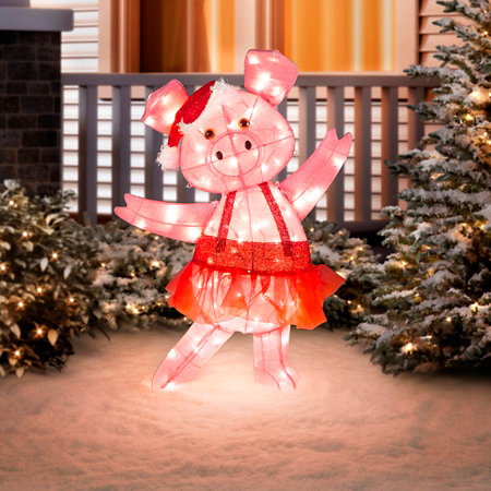 Dancing Pig Lighted Outdoor Christmas Decoration