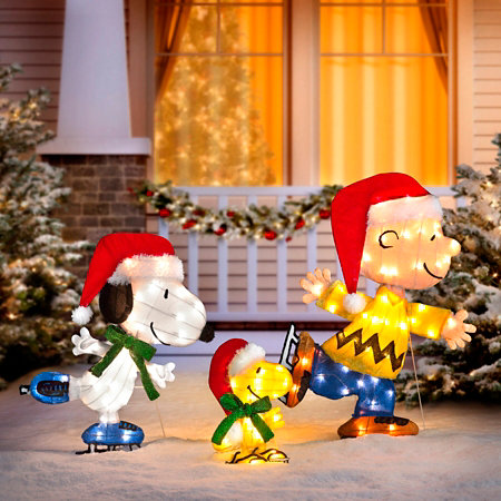 ice skating peanuts lighted outdoor christmas decoration - Snoopy Outdoor Christmas Decorations