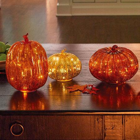 Lighted Gl Pumpkins Fall Decor Set Of 3