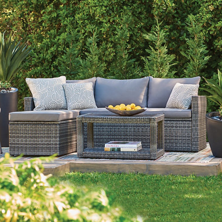 3-Piece Pacific Isles Resin Wicker Sectional Patio Furniture Set with  Cushions - 3-Piece Pacific Isles Resin Wicker Sectional Patio Furniture Set