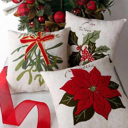 poinsettia christmas throw pillow