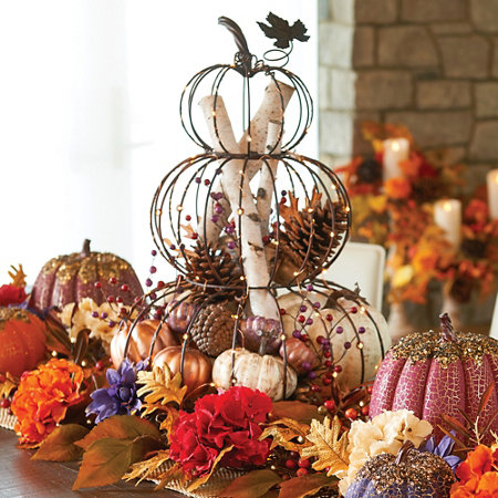 lighted stacked wire framed pumpkins fall decoration - Lighted Wire Christmas Decorations