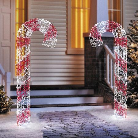 4 microdot led candy cane christmas decoration