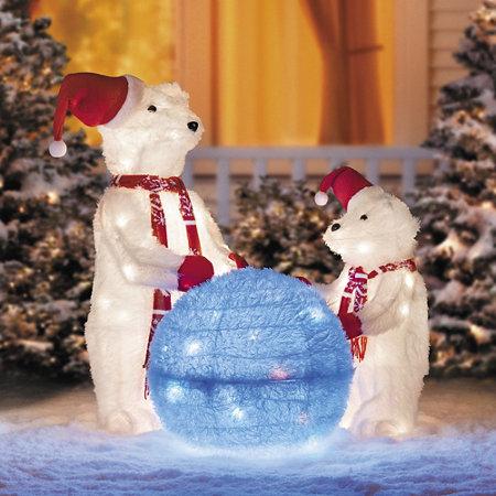 playing polar bears outdoor christmas decoration set of 3