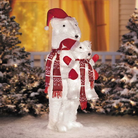 standing polar bear with cub outdoor christmas decoration