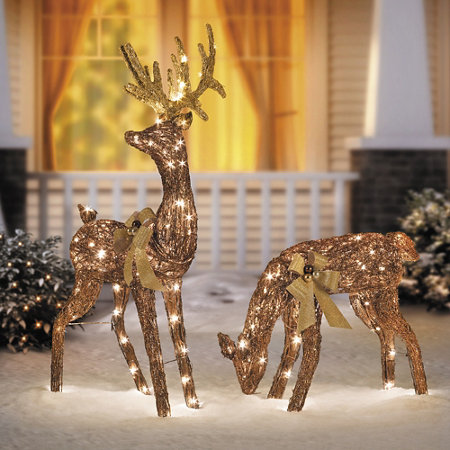 48 grapevine bronze glittered standing buck christmas decor
