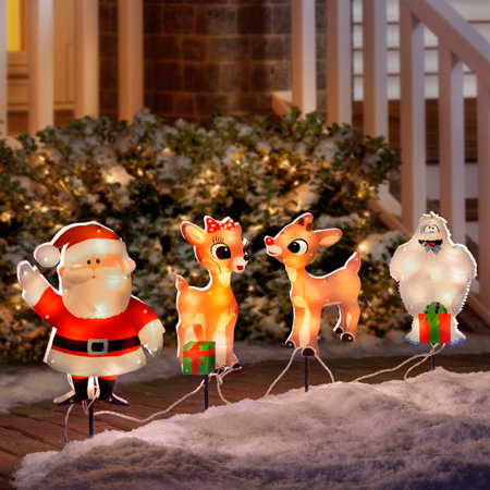 rudolph and friends pathway markers outdoor christmas decoration
