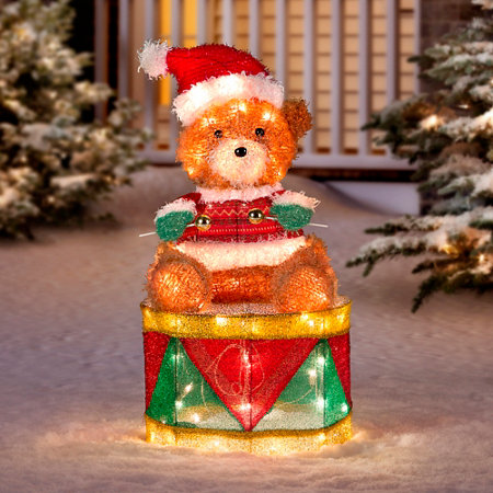 teddy bear drummer outdoor christmas decoration