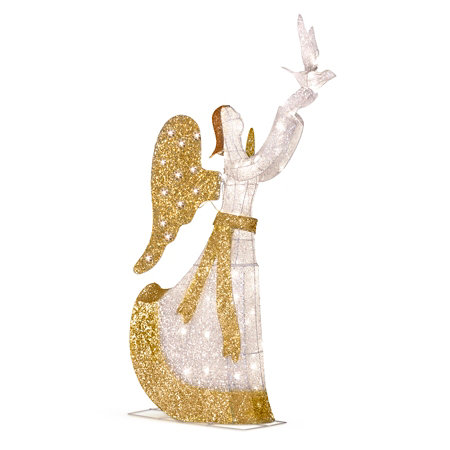 5 lighted angel with dove outdoor christmas decoration - Lighted Angel Outdoor Christmas Decorations