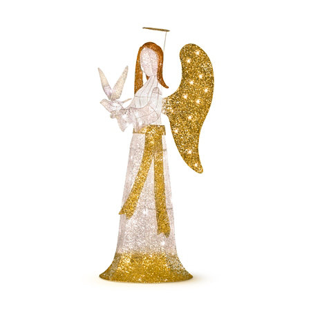 5 lighted praying angel with dove outdoor christmas decoration - Lighted Angel Outdoor Christmas Decorations