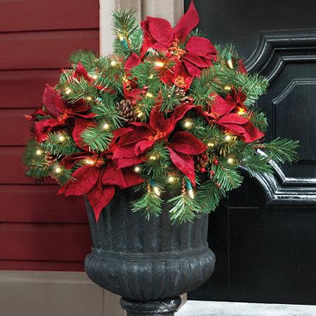 Pre Lit Poinsettia Christmas Urn Filler Improvements Catalog
