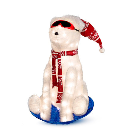 sledding polar bear lighted outdoor christmas decoration