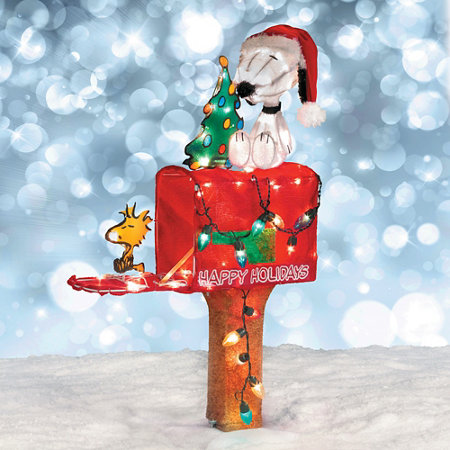 Lighted Snoopy Mailbox Outdoor Christmas Decoration